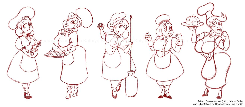 Female Baker: Versions 1 to 5 by Little-Katydid