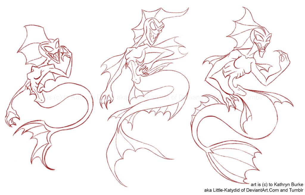 Deep Sea Mermaid: Version 1 to 5 by Little-Katydid