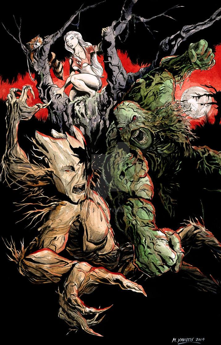 Groot VS Swamp Thing by AurynPub