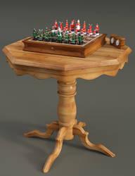 Xmas Chess set - Pine Table