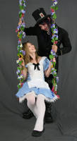 Alice and Hatter on swing