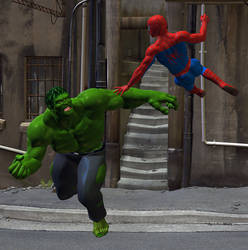 Spidey meets the Hulk