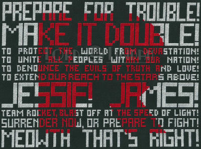 Team Rocket Typography Cross Stitch by LordLibidan