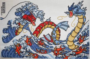 Pokemon Great Wave Cross Stitch by LordLibidan