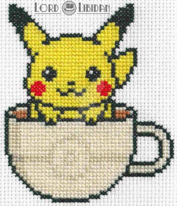 Pikachu Tea Cup Cross Stitch By Lordlibidan On Deviantart