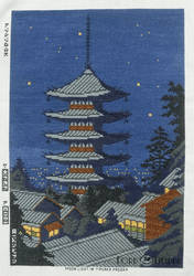 Moon Light in Yasaka Pagoda Cross Stitch