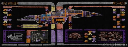 Star Trek Voyager LCARS Blueprint Cross Stitch by LordLibidan