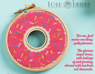 Pink Donut Double HoopCross Stitch by Lord Libidan by LordLibidan