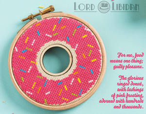 Pink Donut Double HoopCross Stitch by Lord Libidan