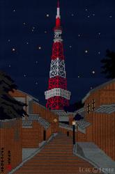 New Moon on Tokyo Tower Cross Stitch