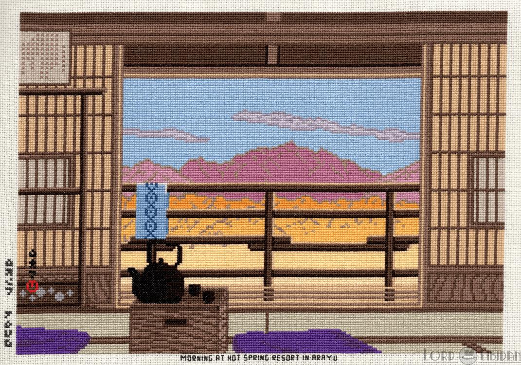 Morning At Hot Spring Resort In Arayu Cross Stitch