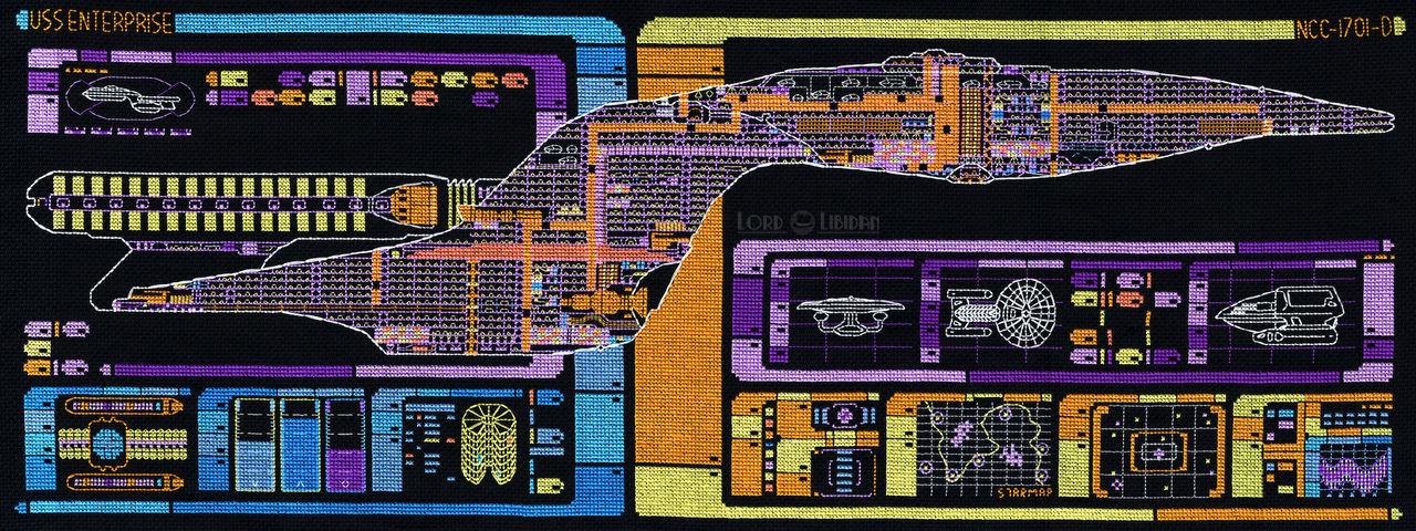 Star Trek Enterprise LCARS Blueprint Cross Stitch