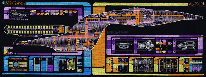 Star Trek Enterprise LCARS Blueprint Cross Stitch by LordLibidan