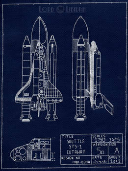 NASA Space Shuttle Blueprint Cross Stitch