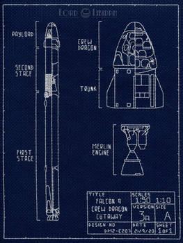 SpaceX Falcon 9 Dragon Blueprint Cross Stitch