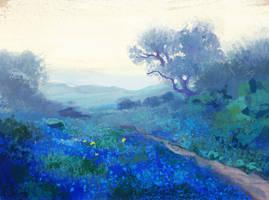 Study of Bluebonnets at Sunrise by R.J.Onderdonk by Birgitte-Gustavsen