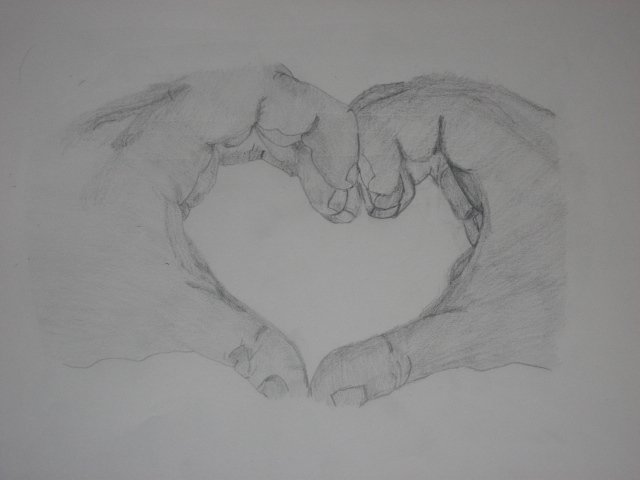 Hands Making A Heart Drawing