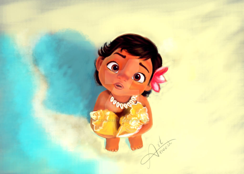 Moana Disney Character Digital Painting By Drawlifestyle