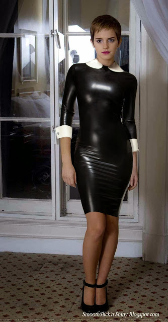 Emma Watson in Black Latex dress by Andylatex