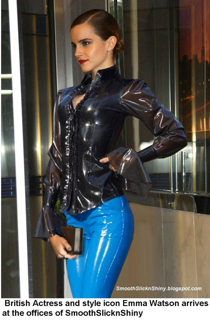 Emma Watson in Latex Pants and Blouse by Andylatex