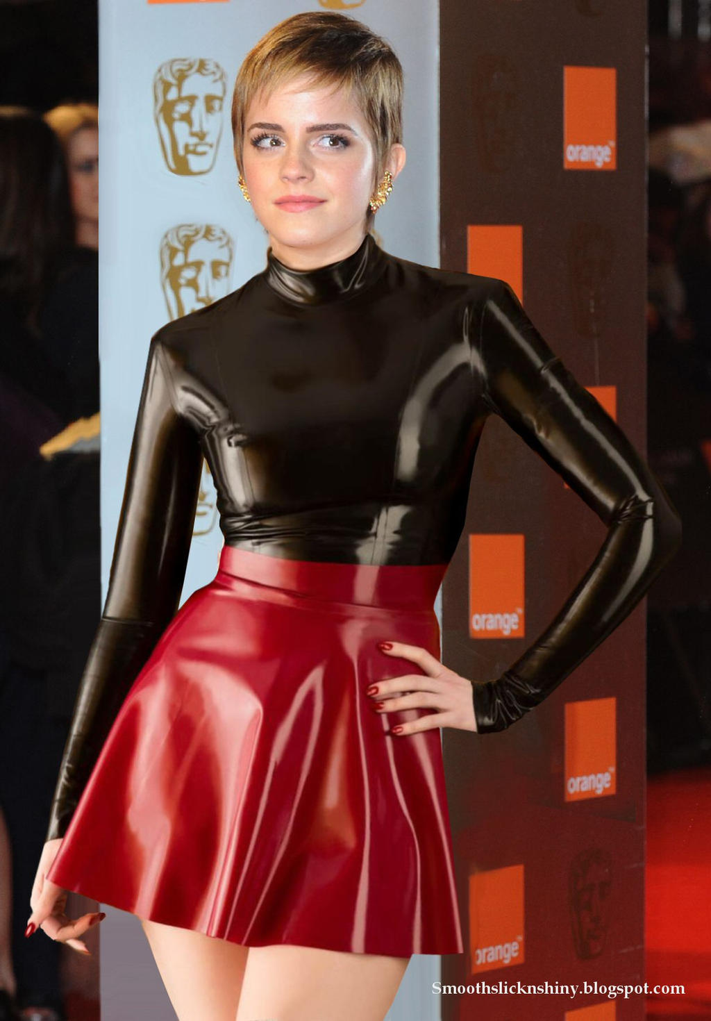 Emma watson in Black and red latex by Andylatex on DeviantArt
