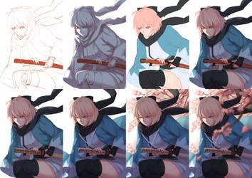 Progress Steps of Okita Souji