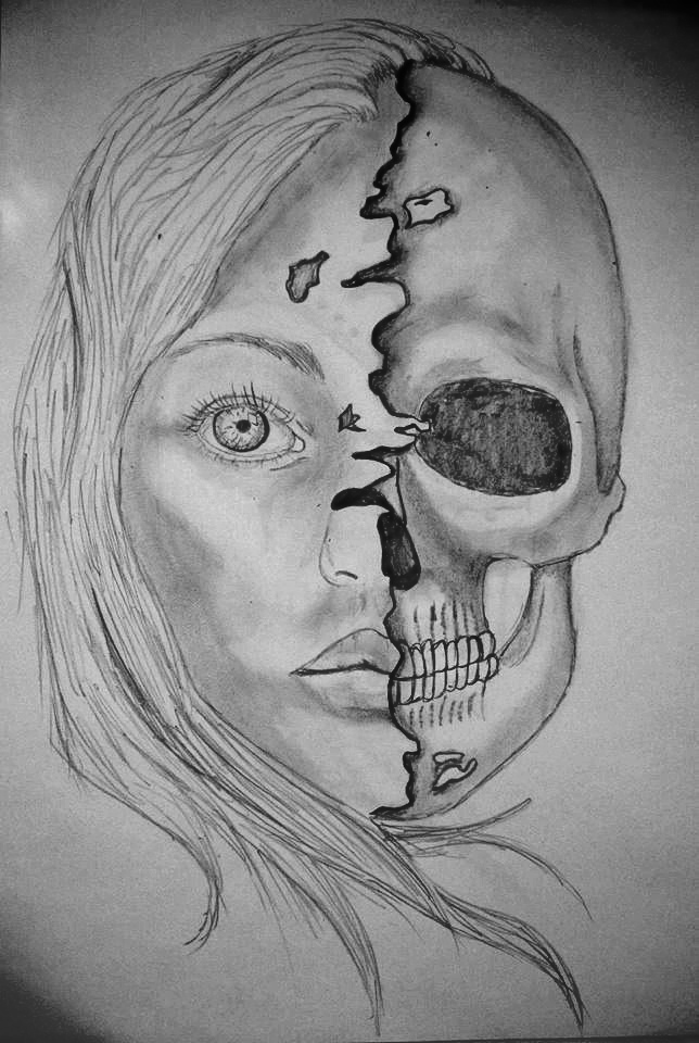Skeleton Face Line Drawing : Half face skull by theyoungart on deviantart