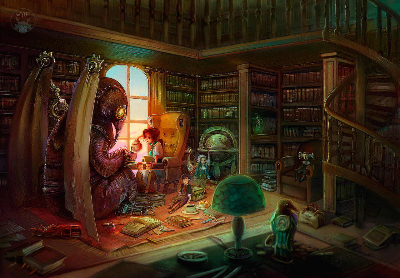 Library Tea Party By Wylfiart On Deviantart