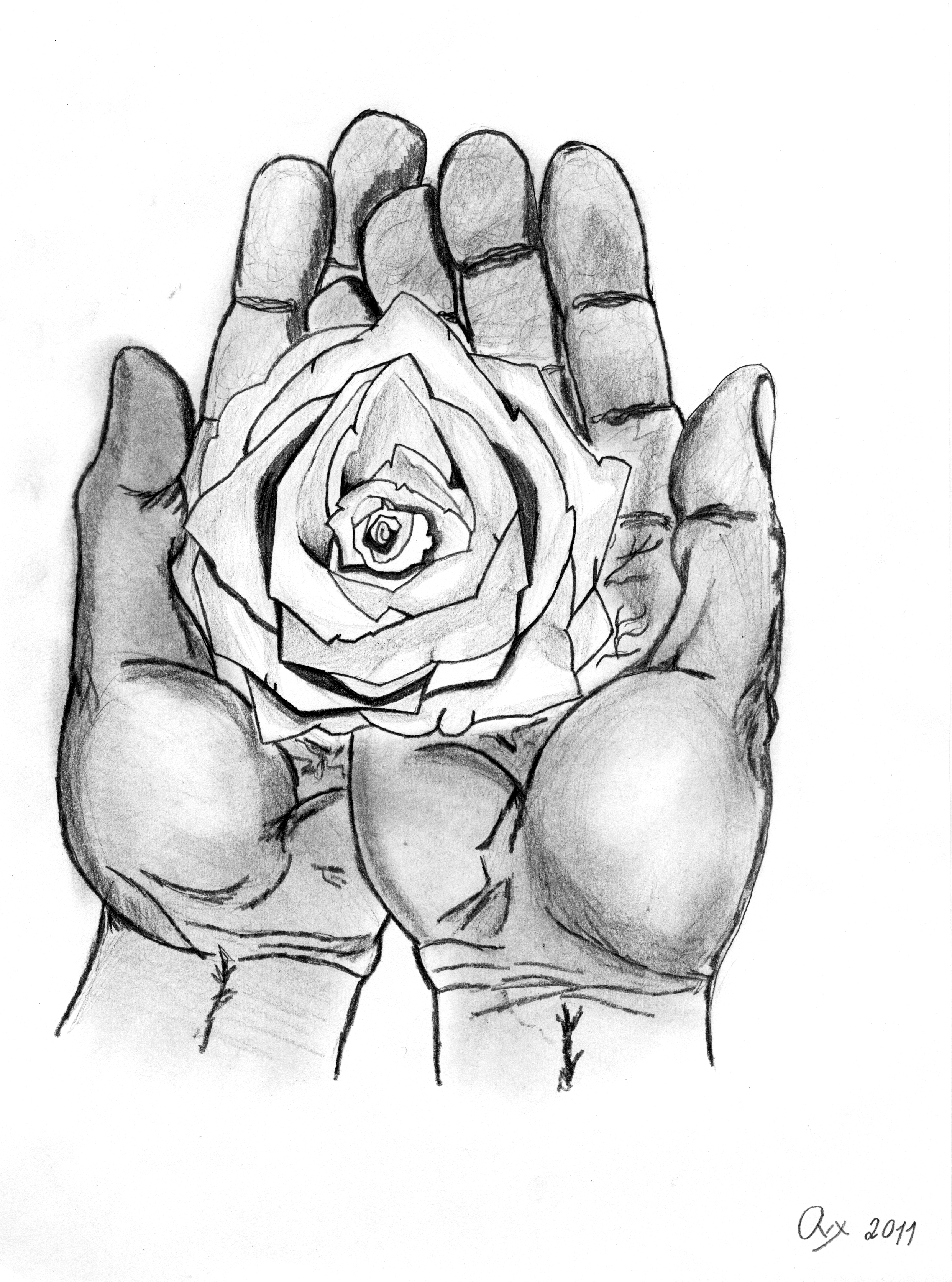 2 hands holding flowers drawings