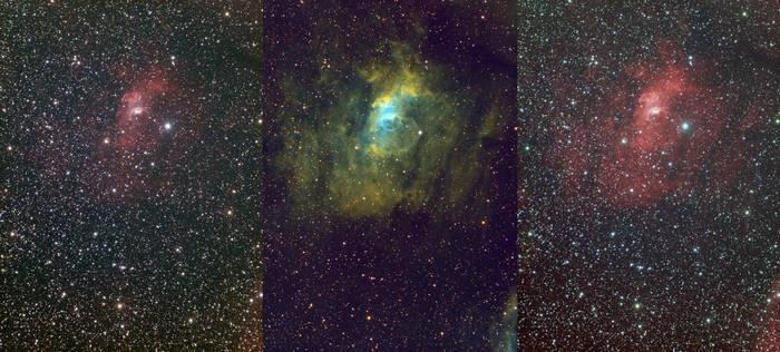 NGC 7635 - Bubble Nebula (Triptych)