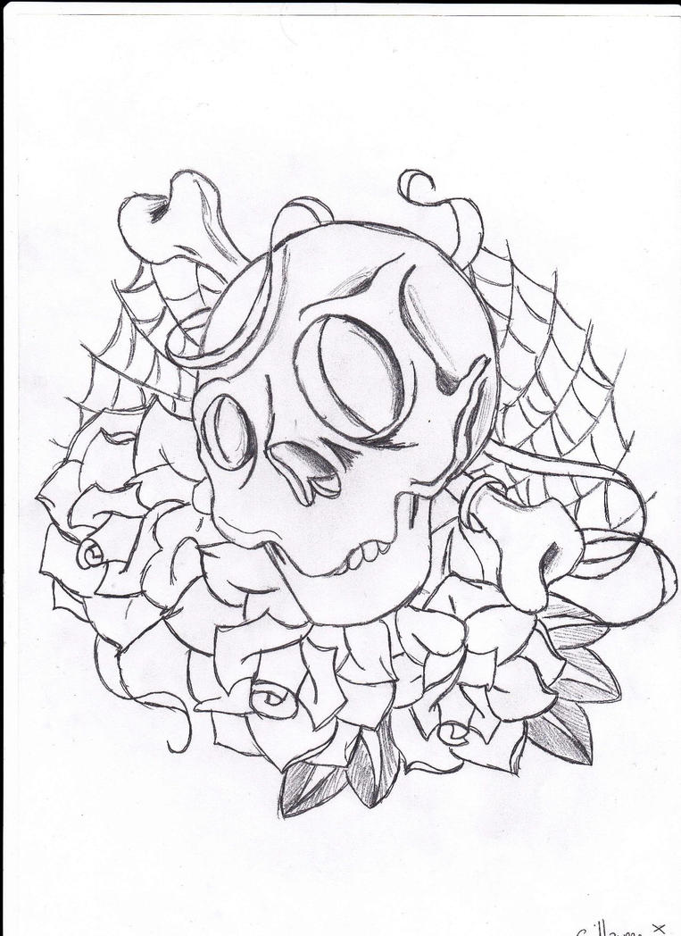 Skull and roses by gnognome on deviantart for Skulls and roses coloring pages