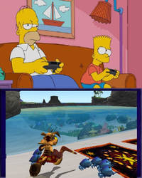 Homer and Bart play Ty the Tasmanian Tiger by Eddsworldfangirl97
