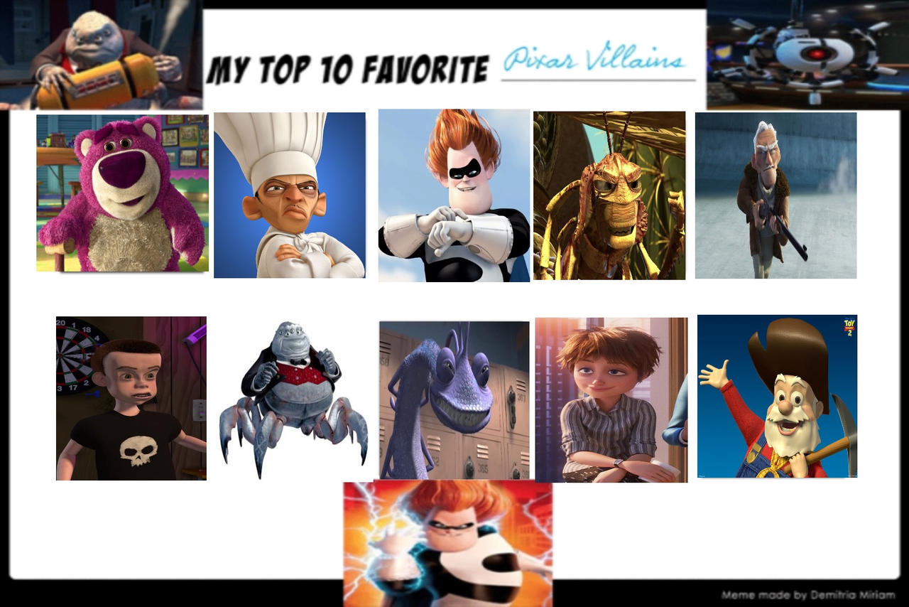 Top 10 Pixar Villains by Eddsworldfangirl97 on DeviantArt