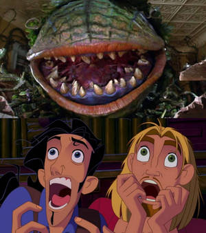 Tulio and Miguel are scared of Audrey 2