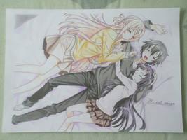 Yui, Asuna and Kirito [SAO] by Flowrant
