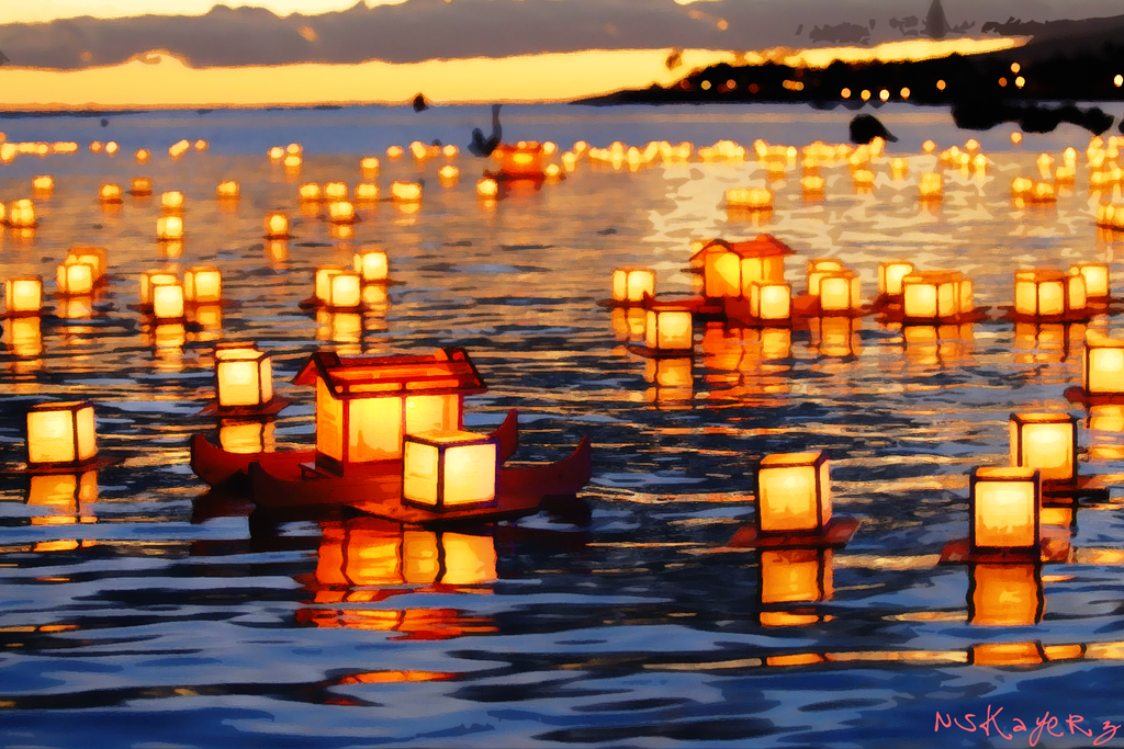 Floating Lanterns in Hawaii Painting. by nskayerz
