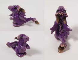 Violet Floral Dragon Figurine