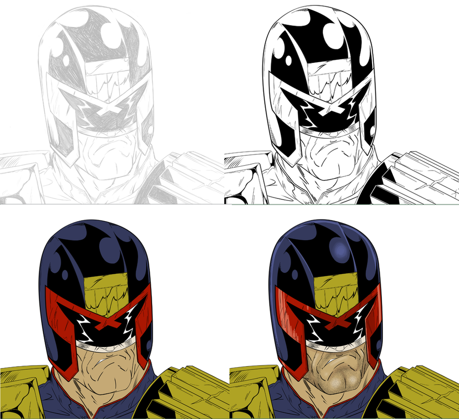 Judge Dredd progress by Cyrano17