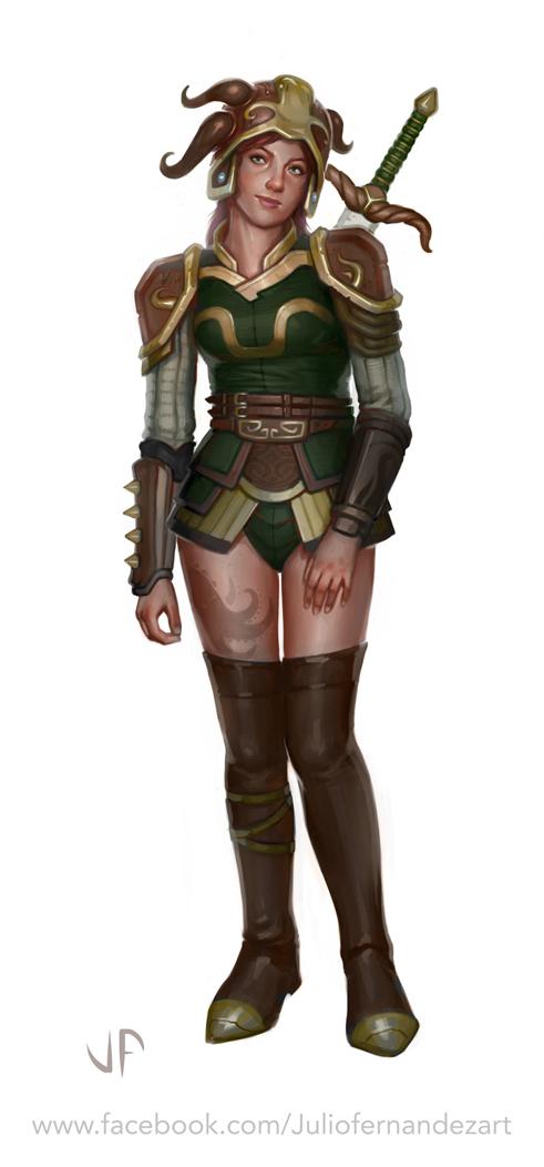 Warrior girl Tentacle warrior by Juligan