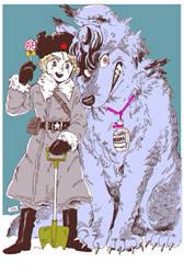 Drunkard and dog by KaneoyaSachiko