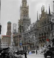 marienplatz rathaus War with present day photomerg