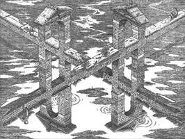 Crossroads by M-C-Escher-Style