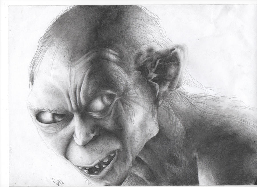 gollum shaded drawing by gill1995 on DeviantArt