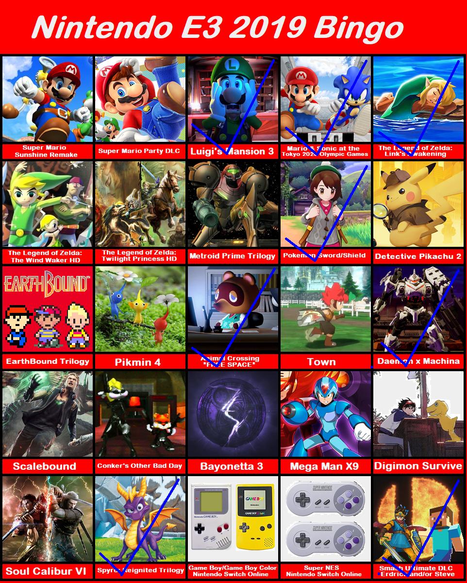 Nintendo E3 2019 Bingo by TimothythePainter on DeviantArt