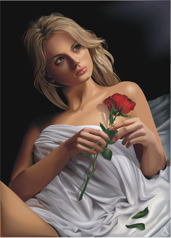 Portrait with a rose by Alexxxx1