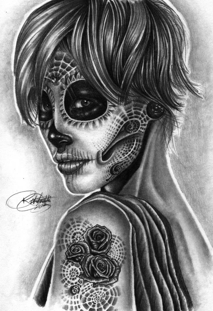 Day Of The Dead girl with tattoo by Bobby-castaldi-art