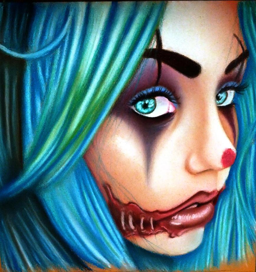 snuggles the clown in pastel by Bobby-castaldi-art