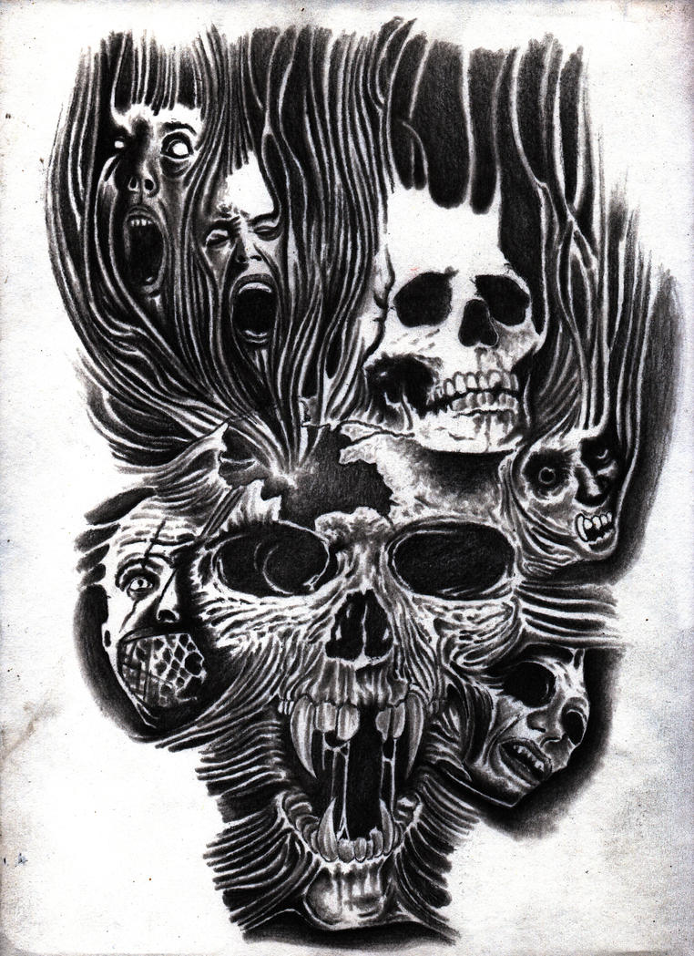 skulls and faces graphite drawing by Bobby-castaldi-art