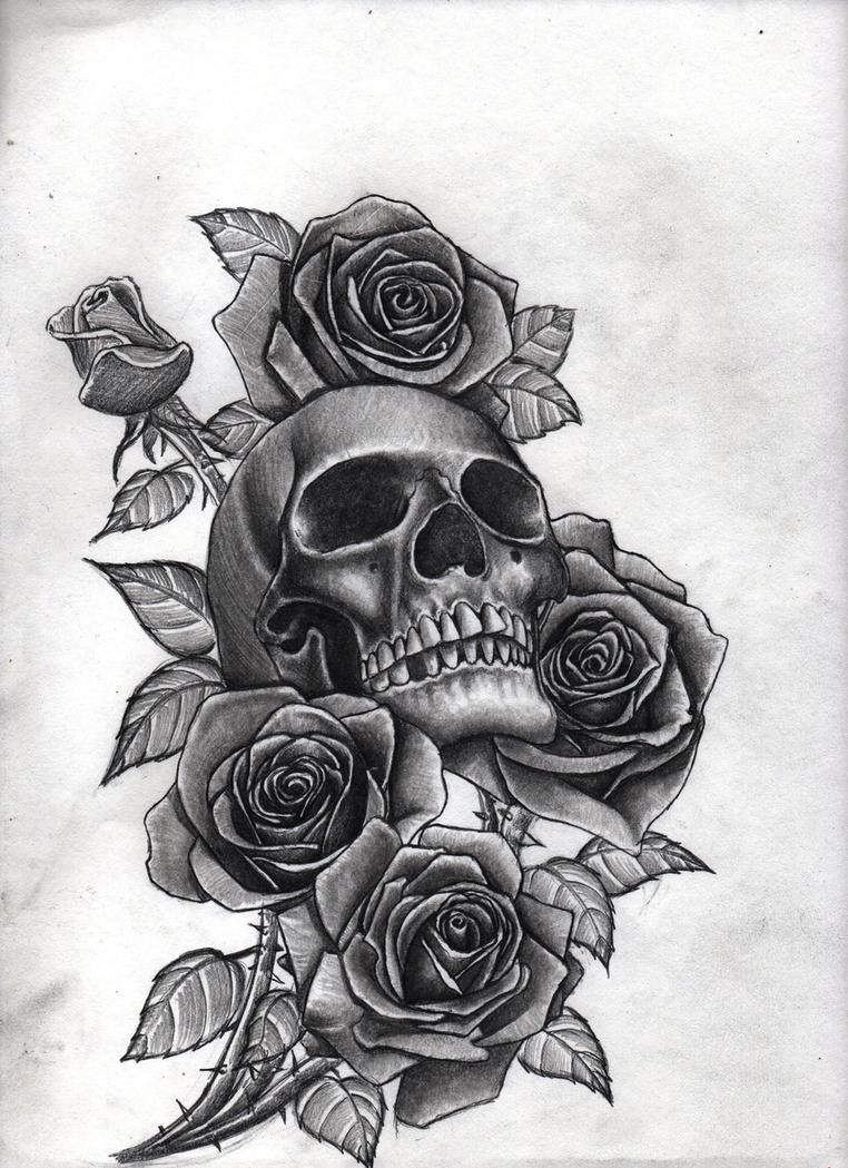 Тату розы череп