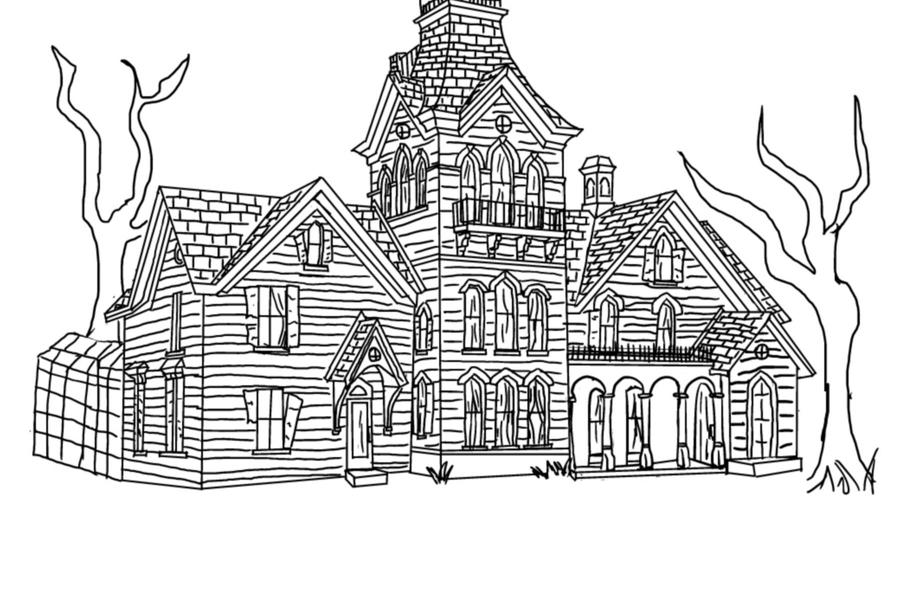 Haunted House No Color By Fullnight On DeviantArt
